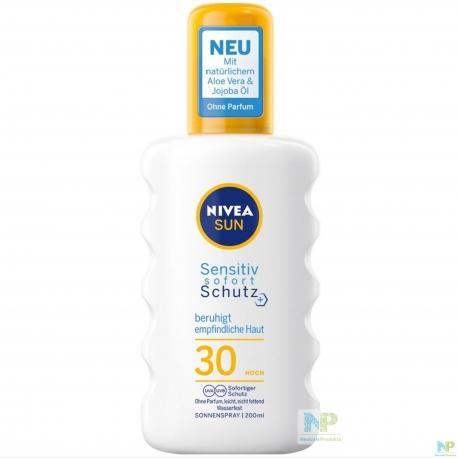 NIVEA SUN Sensitiv Sofortschutz Sonnenspray LSF 30 (HOCH) - beruhigt empfindliche Haut