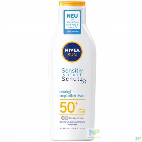 NIVEA SUN Sensitiv Sofortschutz Sonnenlotion LSF 50+ (SEHR HOCH) - beruhigt empfindliche Haut
