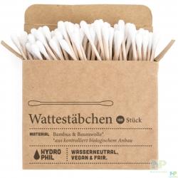 HYDROPHIL Wattestäbchen mit Bambus & Bio-Baumwolle 100 Stk.